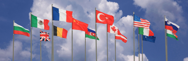 national flags of the different states against the blue sky