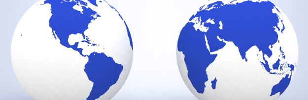 Two globes of Earth